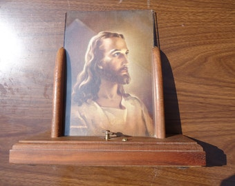 Wood and Glass Frame with Jesus Picture