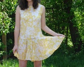 60s Jumper Skirt/shorts Yellow & White Floral