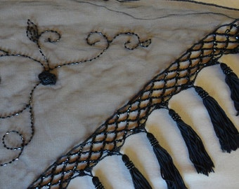 Black vintage shawl, sheer, embroidered, beaded