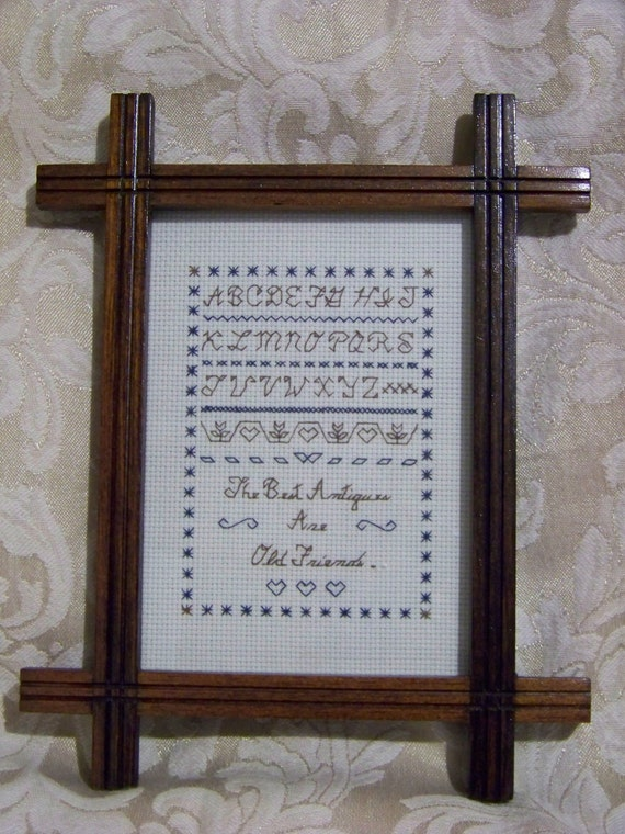 "Framed Finished Cross Stitch Sampler 5X7 ""The Best Antiques Are Old Friends"""