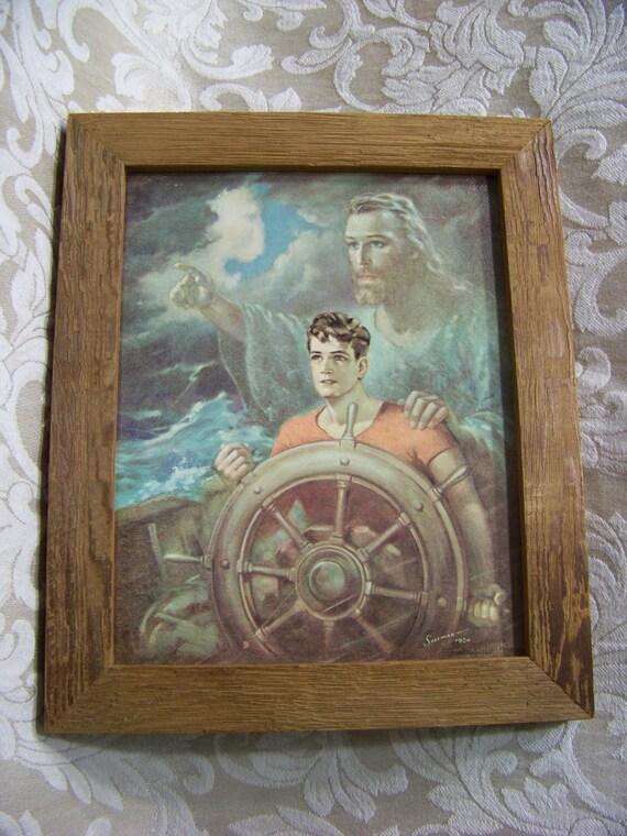 Vintage Sallman Framed Photo Sailor W Jesus By