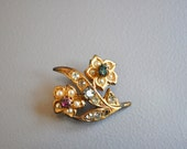 Vintage Brooch or Pin with Faux Jewels and Rhinestones
