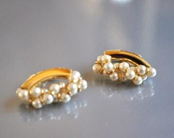 Napier Earrings Pearl Twist gold Toned