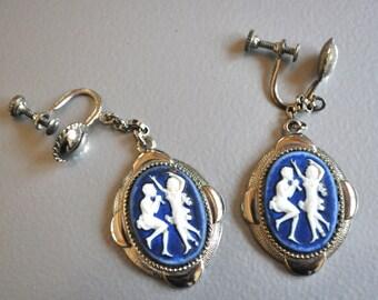 Cameo Earrings Wedgwood Blue Dangle