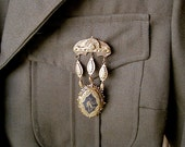 STEAMPUNK Military Antique Victorian Enameled Brooch or Pendant
