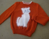 On HOLD Soft Kitty Warm Kitty SWEATER Hand Knit Pullover with Angora Cat Never Worn One of a Kind  Vintage 1980s ooak