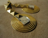 GLAM 80s Earrings Pyramid Square Studs Huge Metal Hanging Posts