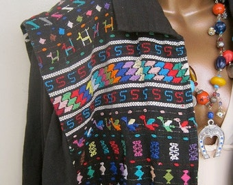 Guatemalan Jacket Boho CHEVERE Bomber JACKET Vintage 1980s Heavily Embroidered Cotton Oversized Dolman Sleeve for Men or Women