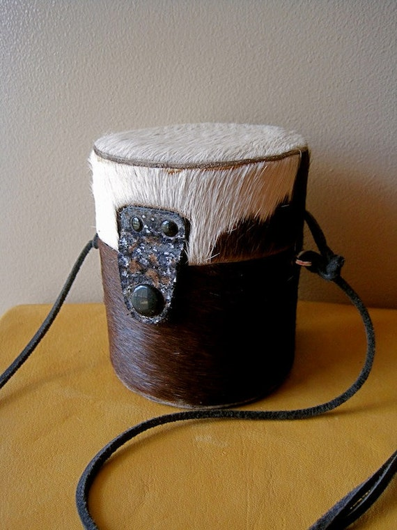 Vintage Western Hair-On Cowhide Barrel Purse Hard Shell Protection SMALL SIZE