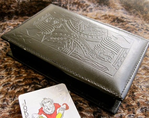 Leather Card Box: Vintage 70s Collectible Black Card Case Unopened Playing Cards Set with King of Spades Top