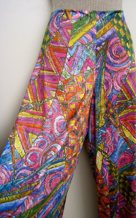 Palazzo Pants:  Fabulous Vintage 70's Floor Sweeping Wide Leg Mod Hippie Gypsy Pants Abstract Geometric Medium
