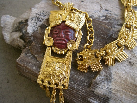 ON HOLD Salvador Teran Necklace: Aztec Mask Warrior Articulated Figural 50s Ceramic  22 K Gold Plated FABULOUS Rare Collectible