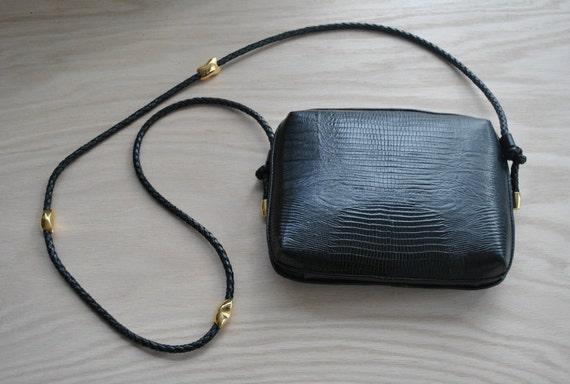 black is black // bags // 80s 90s Structured Chic Black Croc Embossed Shoulder Bag