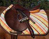 Multicolored Stripe Close Contact Saddle Pad