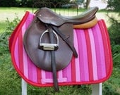 Pink and Red Stripe Close Contact Saddle Pad
