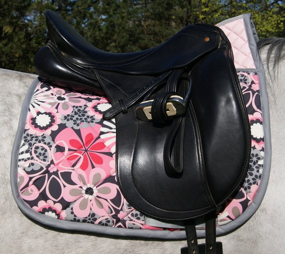 High Wither Pink Flower Dressage Saddle Pad