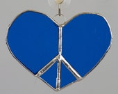 Peace sign heart cool blue valentine stained glass suncatcher