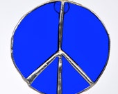 Peace sign bold bright blue stained glass suncatcher - peaceloveglass