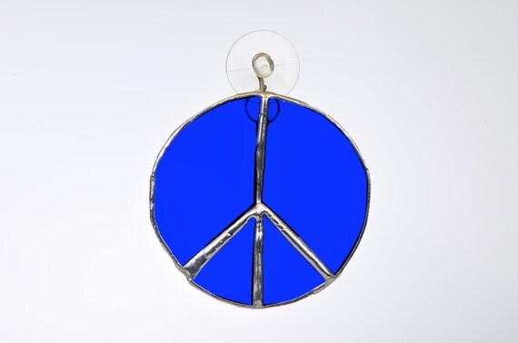 Peace sign bold bright blue stained glass suncatcher