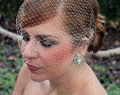 Champagne Bridal Russian Netting Blusher Birdcage Veil