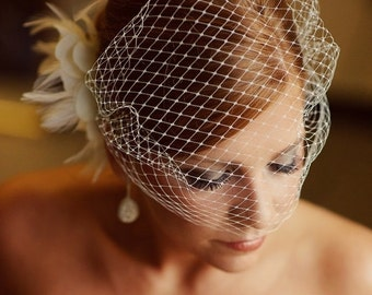 Ivory Bridal Russian Netting Blusher Birdcage Veil