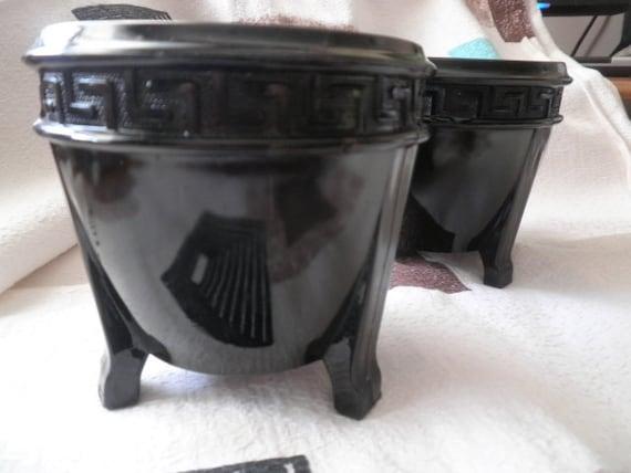 Two Black Amethyst Greek Key Pattern Flower Pots