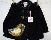 Toddler Girl Bird Applique Black Jersey Long Sleeve Jacket Size 3T