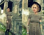 60s Art Deco Fitted Geometric Shift Dress