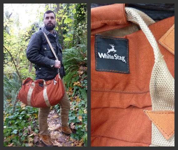 1980's Northwestern Rustic Orange Outdoorsmen's White Stag leather diamond's Duffle Bag