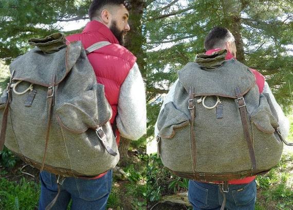 WWll era Swiss Salt and Pepper Leather Bottom Rucksack Backpack