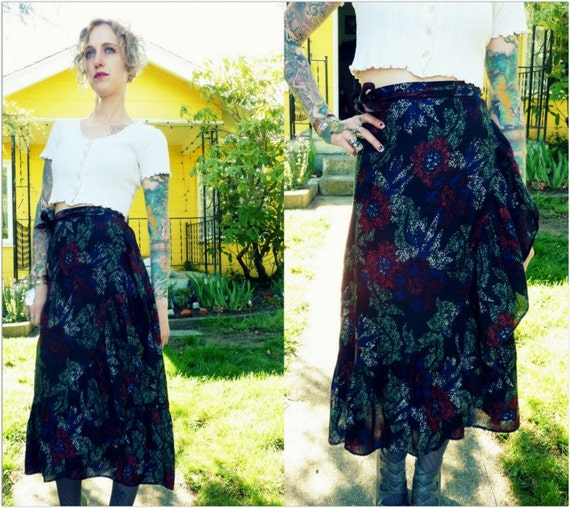 Dusty Floral Sheer 70s Fluttering Wrap Skirt
