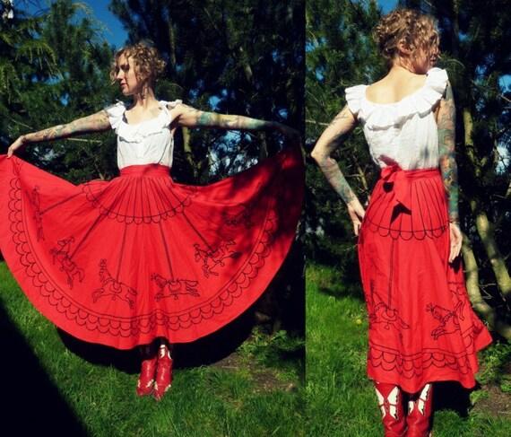 50s Red Carousel Full Circle Tie Back Skirt