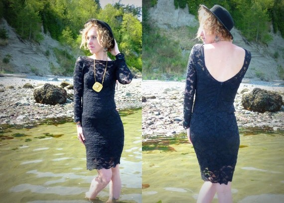 Black Sheer Floral Lace Deep Scoop Bodycon Dress