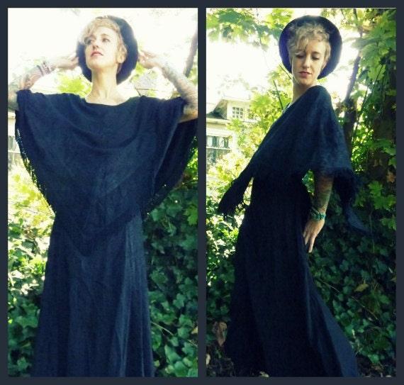 SALE/// Avant Garde Revelation Fringed Capelet Maxi Dress, medium