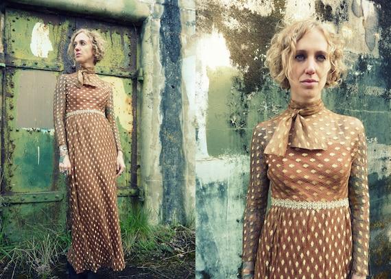 70s Golden Goddess Empire Waist Maxi Dress