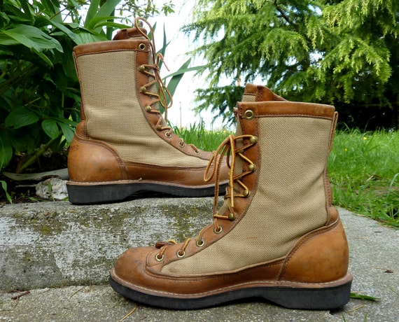 1970's Danner  Canvas and Leather Goretex Hiking Boots, womens 7