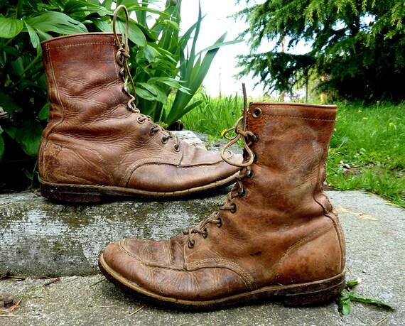 1940s Wards POWRHOUSE American Work Wear Chukka Leather Work Boots, 10