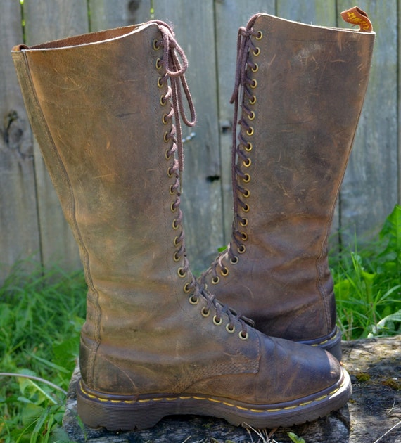 90's Grunge Extra Tall Combat Dr Martin Chocolate Brown Lace Up Boots, 7