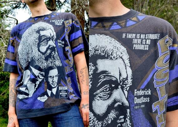 Early 90's Frederick Douglas/ Malcolm X Positive People Black Pride T- Shirt