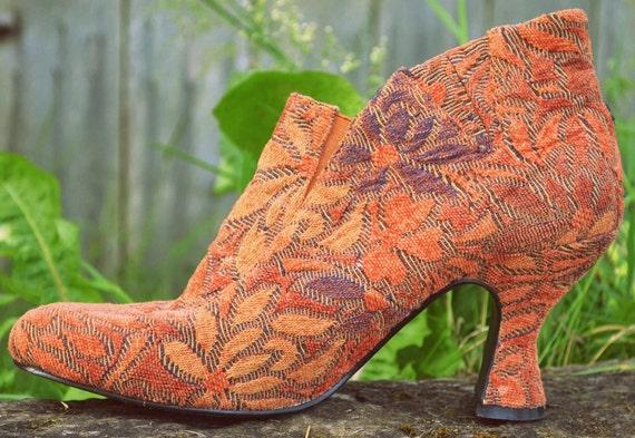 90s Gypsy Harvest Floral Carpet Belled Heel Ankle Boots, 9