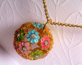 Golden Flower Long Necklace - Globe - Indian Gold - Bouquet