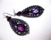 Purple Petal Gypsy Earrings Lavender Crystal Long Dangle