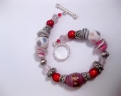Cotton Candy Peppermint Bracelet - Blood Lust Red - Pink