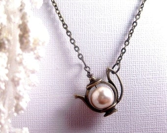 Teapot Necklace - Teapot Pendant - Pearl Necklace - White Satin Pearl - Custom Chain Length