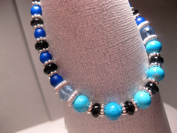 Royal Blue Turquoise Colored Bracelet Black With Blue Crystal