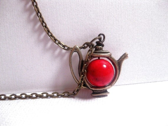 Vampire's Supernatural Brew Teapot Necklace - Red Elixir