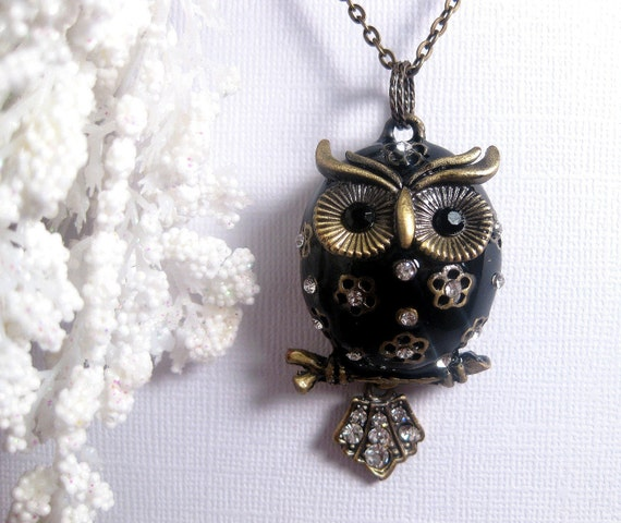 Black Chubby Owl Necklace -  Perched On A Branch