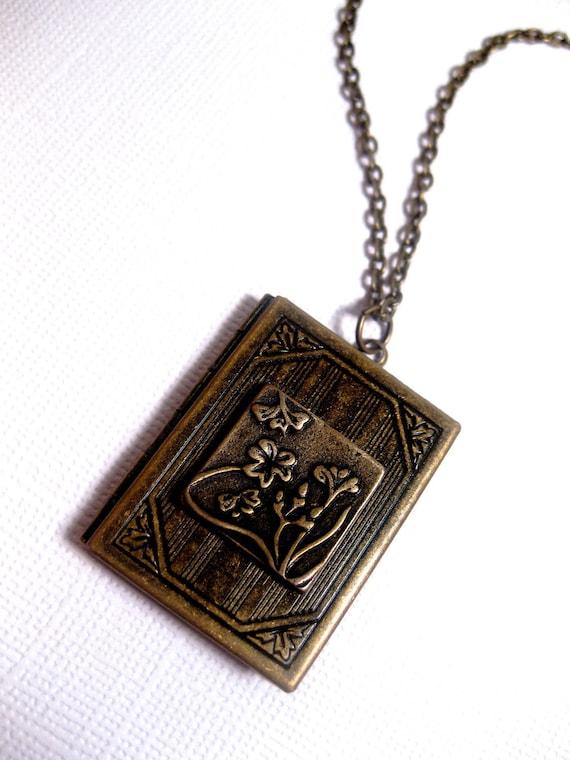 Brass Flower Stamp Book Locket Necklace