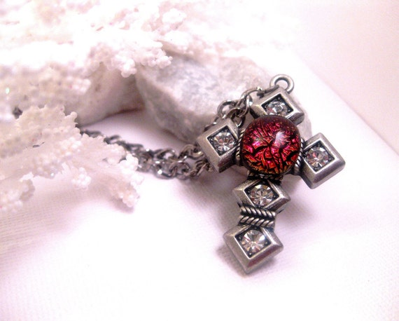 Volcano Blaze Cross Necklace - Gothic - Red Dichroic Glass - Silver