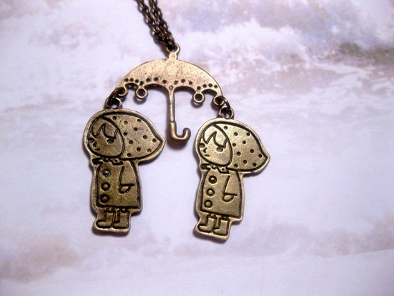 Raincoat Twins Under Umbrella Necklace - Antique Brass